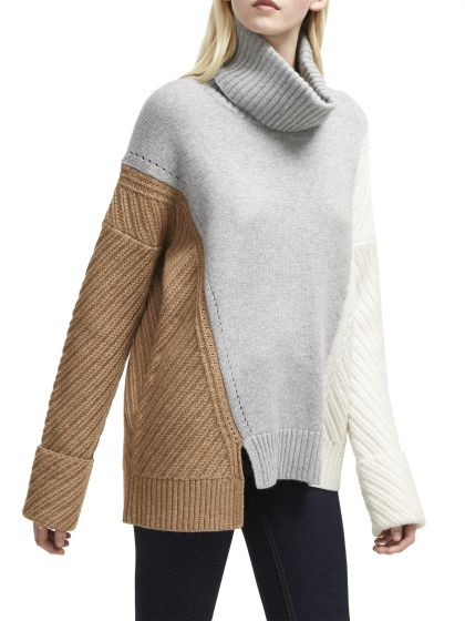 French Connection Viola Turtleneck Color Block Sweater
