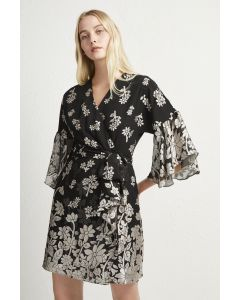 French Connection Elsie Satin Devore Wrap Dress