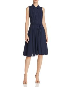 Nanette Nanette Lepore Navy Pintuck Pleat Shirt Dress