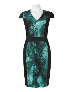 Adrianna Papell Teal Pattern Dress