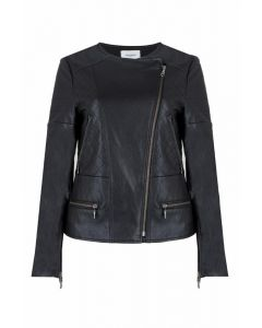 Jovonna London Amaya Black Cross-Front Faux Leather Moto Jacket