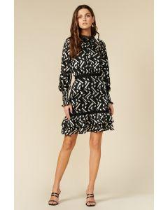 Adelyn Rae Mock Neck Black and Silver Chiffon Ruffle Hem Dress