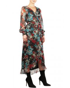 Elan Floral Wrap V-Neck Midi Dress