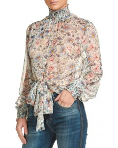 Elan Smocked Neck Floral Top