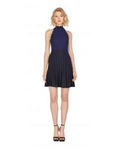Adelyn Rae Lia Black and Navy Sweater Dress