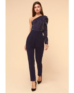 Adelyn Rae Clarissa One Shoulder Navy Jumpsuit