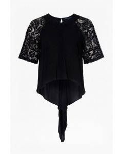 French Connection Lace Waterfall Hem Top
