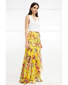 French Connection Linosa Wrapover Crinkle Maxi Skirt