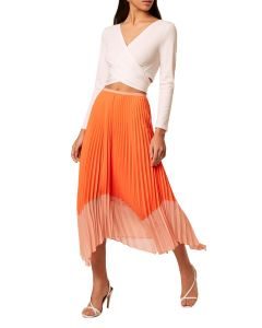 French Connection Ali Light Orange Pleated Skirt