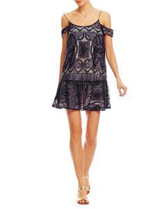 Nicole Miller Cold Shoulder Embroidered Chiffon Dress