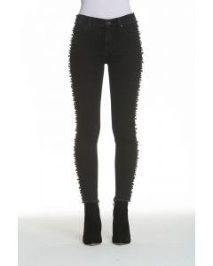 Driftwood Jackie Metallic Faux Pearl Detail Skinny Jeans