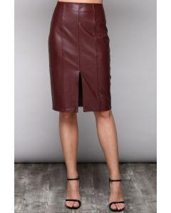 Jack Meets Kate Faux Leather Burgundy Midi Skirt
