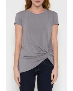 Laju Grey Side Ruched Waist Top