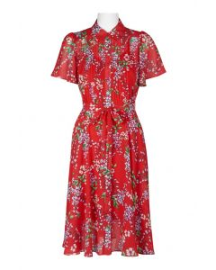 Nanette Nanette Lepore Red Floral Print Dress