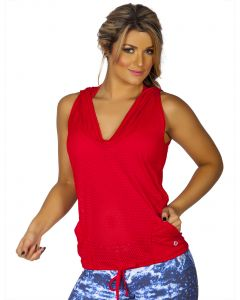 Protokolo Red Sleeveless Hooded Pullover Vest