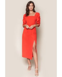 Sugarlips Puff Sleeve Midi Dress
