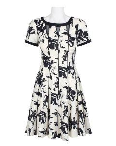 Taylor Black and White Fit And Flare Floral Dress