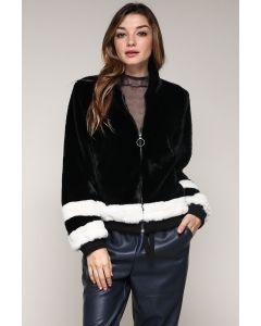 Jack Meets Kate Color Block Faux Fur Jacket