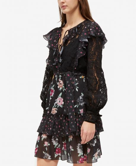 French Connection Edith Devore Mixed Print Ruffle Dress