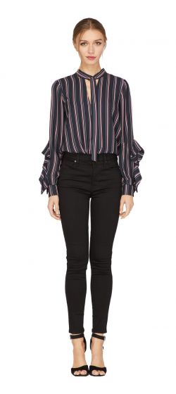 Adelyn Rae Kipling Black and Red Striped Blouse