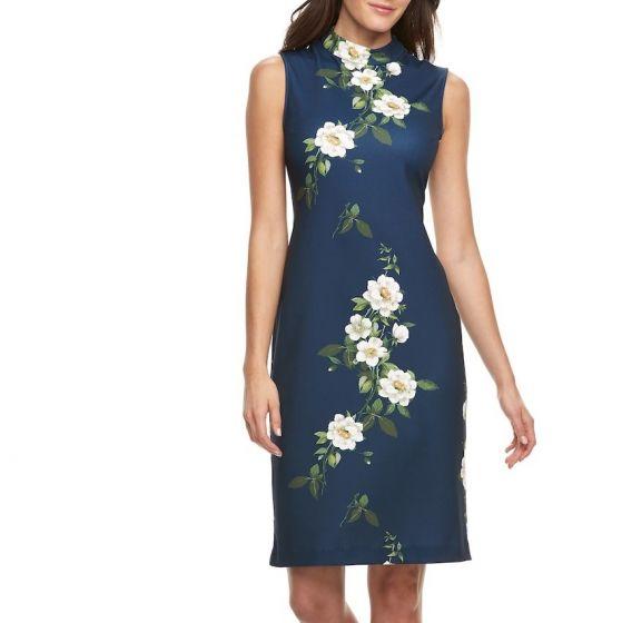 Sharagano Floral Midi Dress