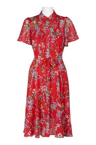 Nanette Nanette Lepore Red Floral Print Dress