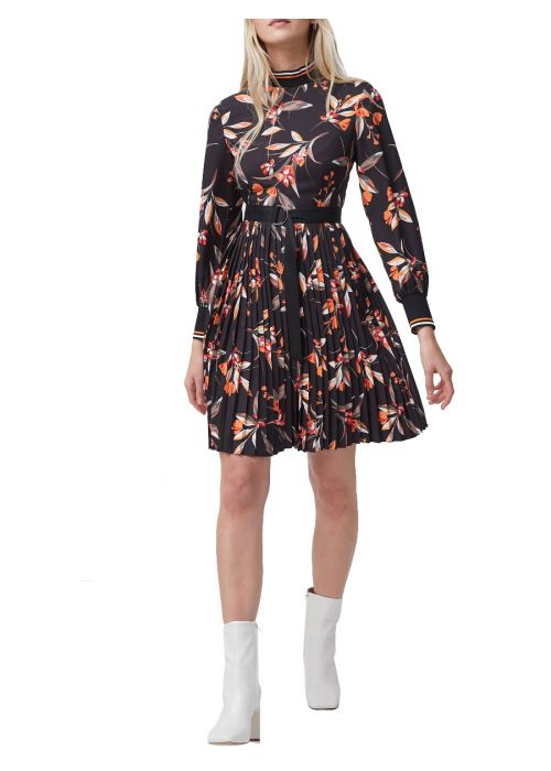 French Connection Eliva Drape Pleated Dress