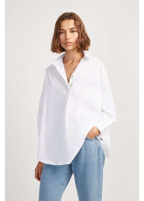 French Connection Poplin Floral Popover Shirt