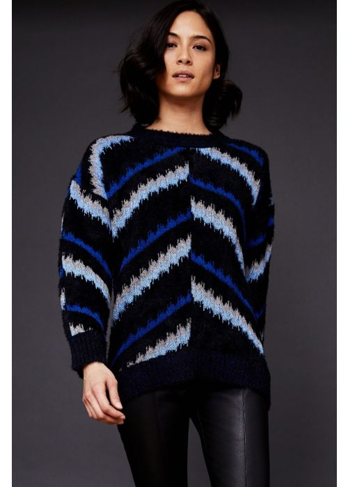 ECRU Chevron Jacquard Easy Crew Sweater