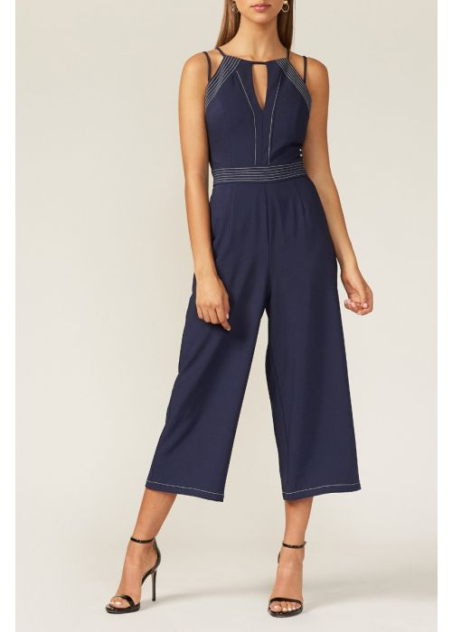 Adelyn Rae Navy and White Sarina Crop Jumpsuit