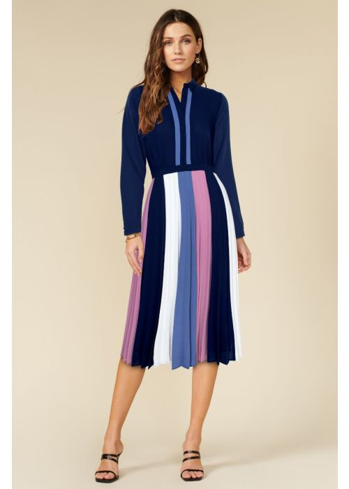 Adelyn Rae Lucia Color Block Pleated Dress