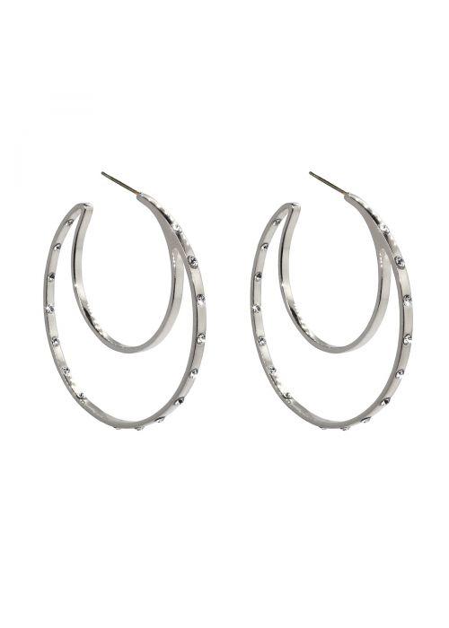 Liza Schwartz Sterling Silver Plated CZ Double Hoops