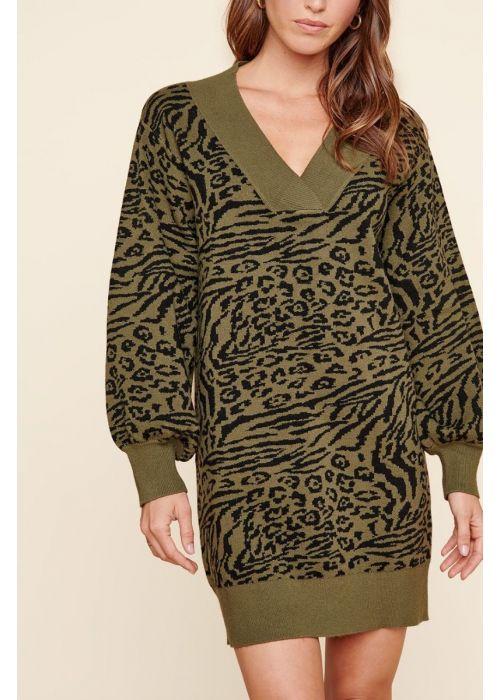 Sugarlips Mojave Animal Print Sweater Dress