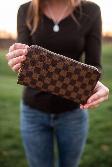 The Classy Cloth Dark Brown Check Wallet