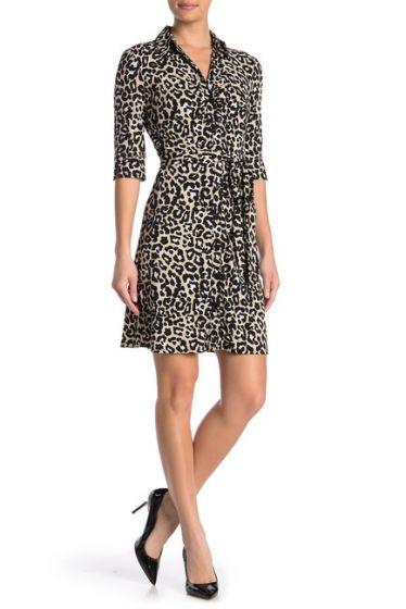 Laundry by Shelli Segal Leopard Print Shirt Dress
