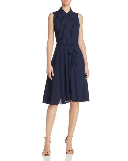 Nanette Nanette Lepore Navy Pintuck Pleat Shirt Dress