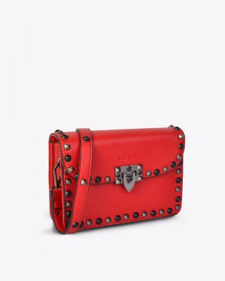MERSI Ruby Red Studded Crossbody Bag