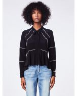 Nicole Miller Piped Tie Blouse