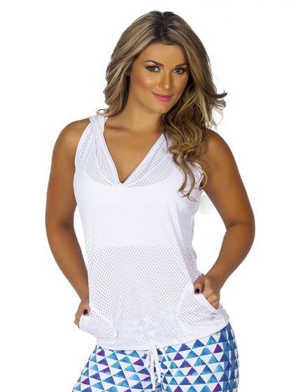 Protokolo White Sleeveless Hooded Pullover Vest