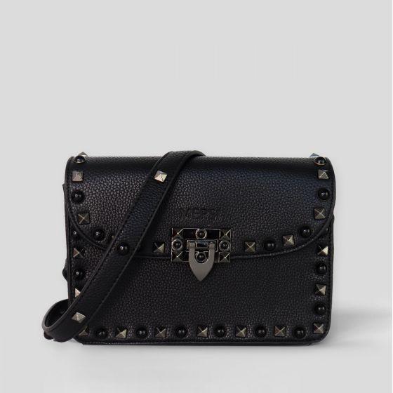 MERSI Ruby Black Studded Crossbody Bag