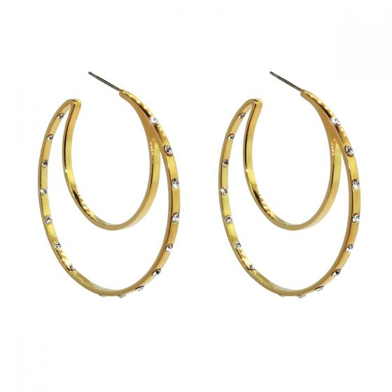 Liza Schwartz Gold Plated CZ Double Hoops