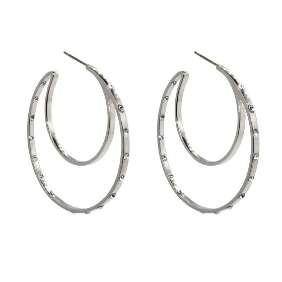 Liza Schwartz Sterling Silver Plated CZ Double Hoops