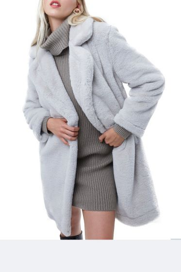 French Connection Long Grey Faux Fur Coat