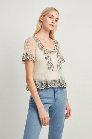 French Connection Edevia Lace Peplum Top