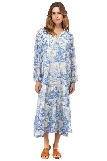 BTFL-LIFE Blue and White Printed Midi Dress