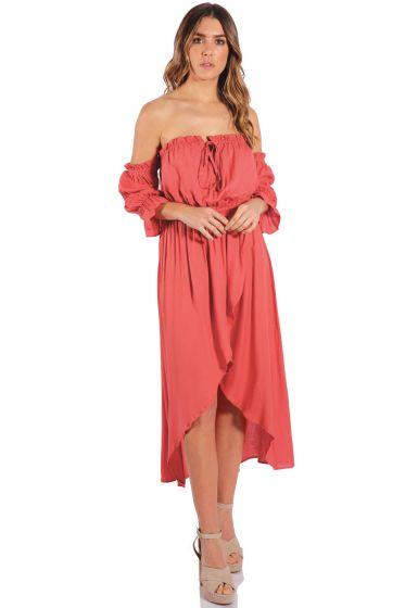 ELAN Coral Hi-Lo Off the Shoulder Dress