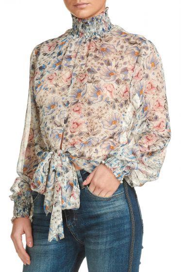 Elan Smocked Neck Floral Top