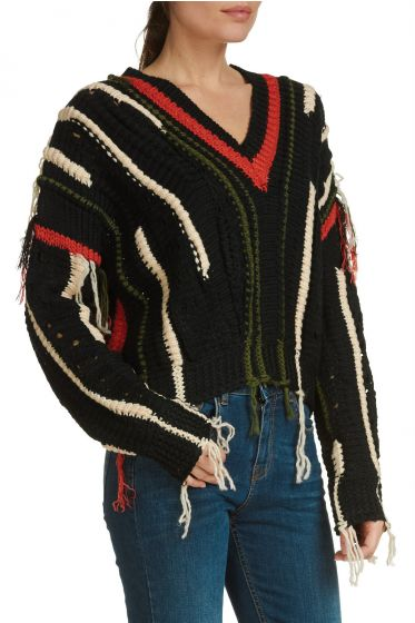 Elan V-Neck Multi Color Fringe Sweater