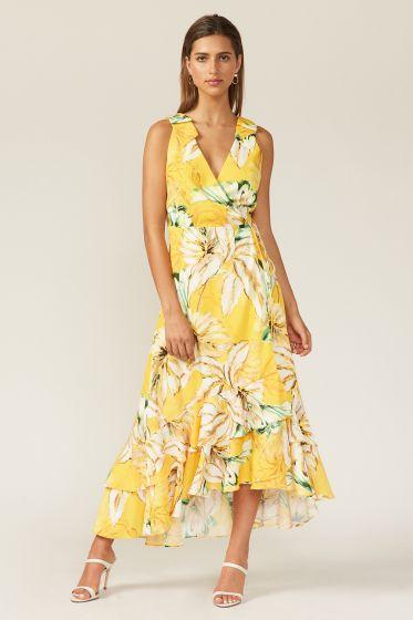 Adelyn Rae Floral Wrap Maxi Dress