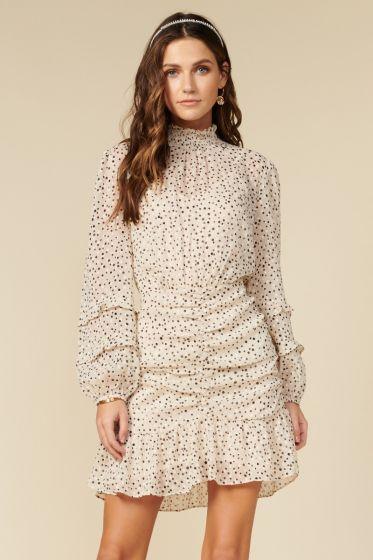 Adelyn Rae Zilu Cream Polka Dot Dress